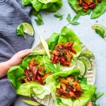 Chicken Fajita Lettuce Wraps – an easy low carb way to enjoy fajitas. Best of all, less than 30 minutes to make and perfect for lunch or a lightened up dinner for busy weeknights!