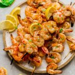 Low Carb Shrimp Kebabs with Lemon Butter Sauce - easy grilled shrimp skewers seasoned with a fresh and flavorful lemon butter sauce. Perfect keto-friendly appetizers for summer parties or serve with your favorite side for lunches and dinners.