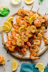 Low Carb Shrimp Kebabs with Lemon Butter Sauce