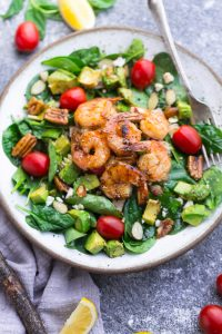 Spinach Avocado Shrimp Salad
