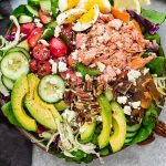 Keto Salmon Salad - a delicious loaded meal made with grilled or broiled salmon, cucumber, eggs, tomatoes, avocado, crispy bacon and a creamy and tangy vinaigrette. Low carb, keto , gluten free with Whole 30 & paleo friendly options.
