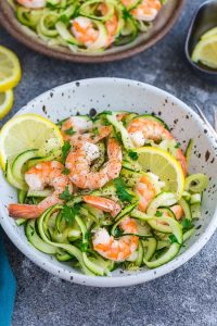 Lemon Garlic Shrimp with Zucchini Noodles