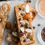 Close up view of stacked low carb protein bars