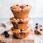 Stack of 3 low carb blueberry lemon muffins